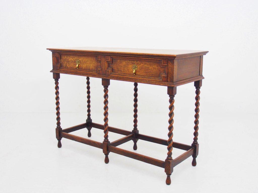 アンティーク家具 サイドテーブル 収納 コンソール サーバー オーク ツイストレッグ イギリスアンティーク