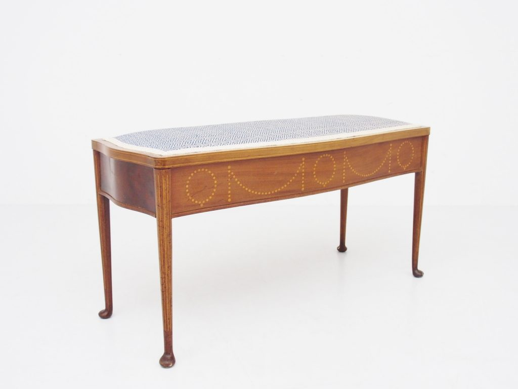 アンティーク家具 イギリスアンティーク ベンチ ピアノスツール 連弾用 インレイド 象嵌 収納付ベンチ