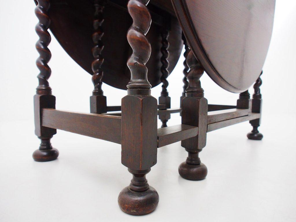 アンティーク家具 イギリスアンティーク オークテーブル 折りたたみテーブル ゲートレッグテーブル バタフライテーブル ダイニングテーブル ツイストレッグ オーク