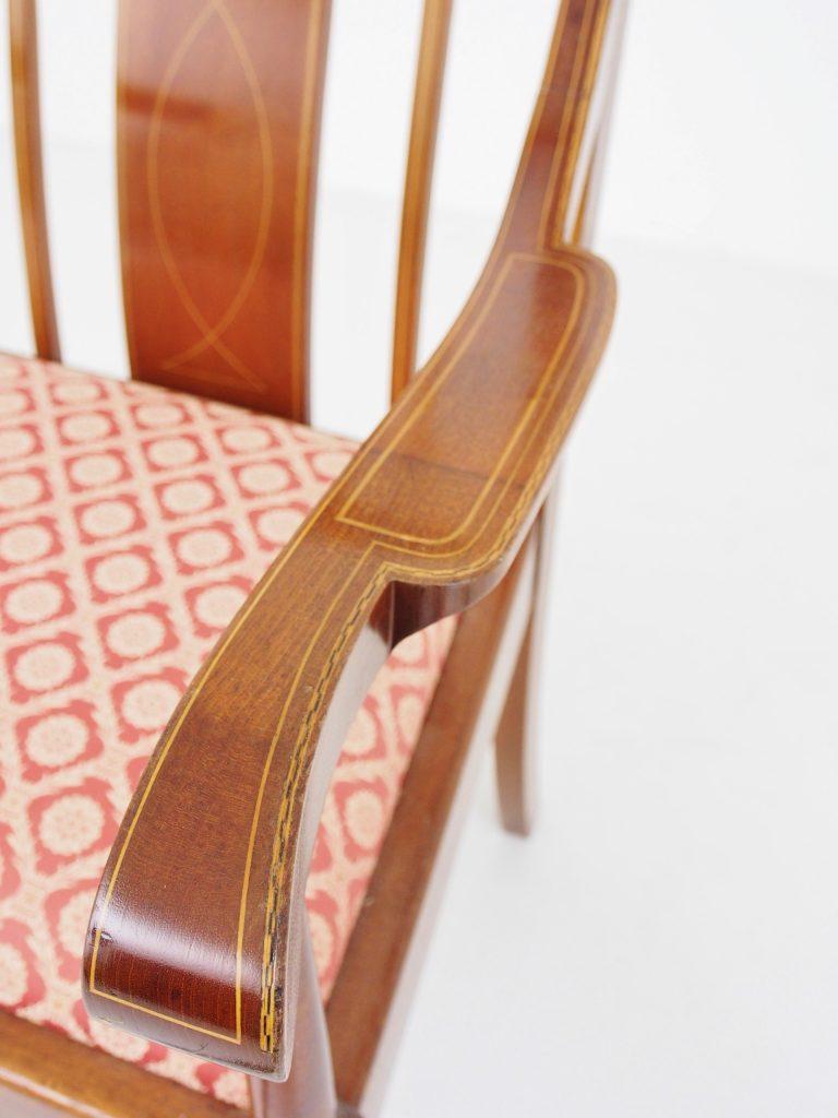アンティーク家具 イギリスアンティーク アームチェア インレイ マホガニーチェア 一人掛け チェア イス 椅子