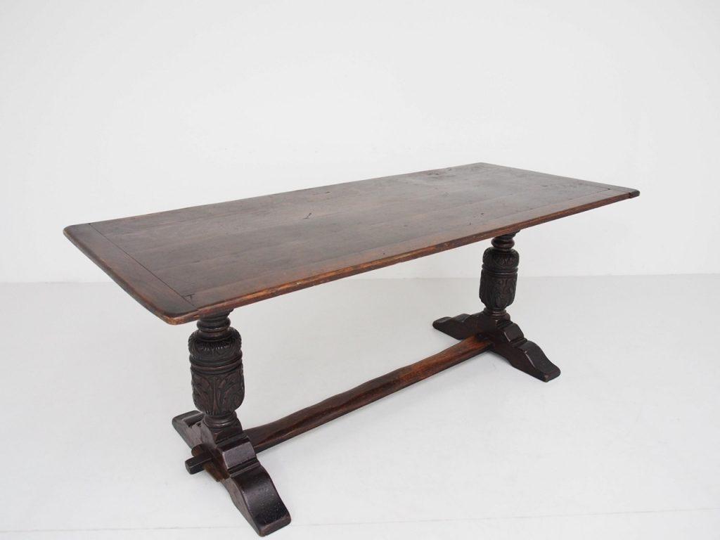 アンティーク家具 イギリスアンティーク ダイニングテーブル リフェクトリーテーブル カントリー オーク ブルバス バルボスレッグ
