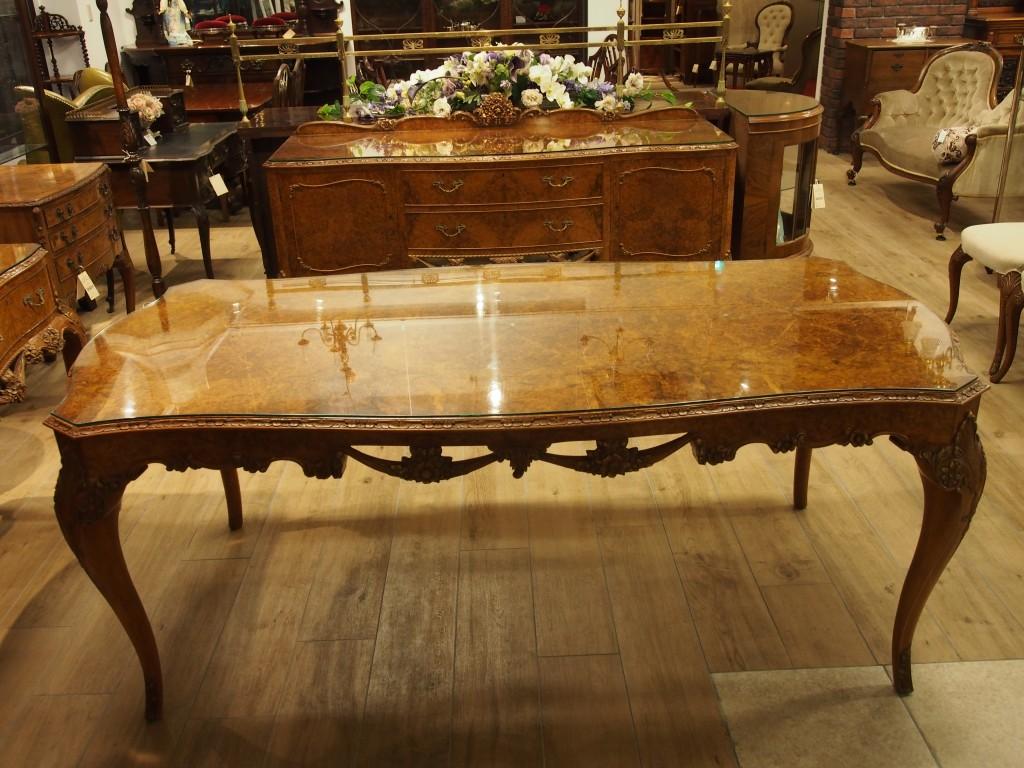 ダイニングテーブル テーブル ウォールナットテーブル ネコ脚テーブル バーウォールナット アンティーク家具