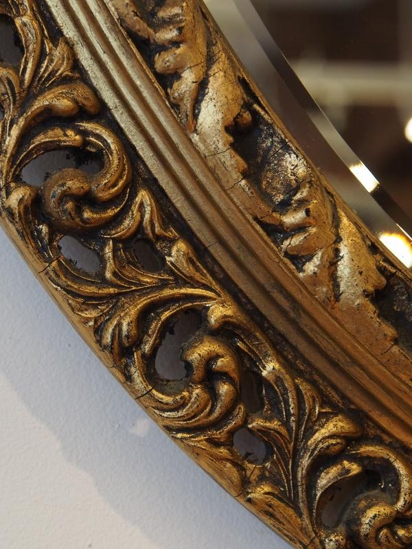 ミラー オーバルミラー ウォールミラー アンティークミラー ギルト塗装 アンティーク家具