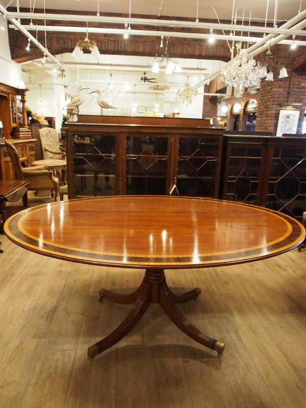 アンティーク家具 箕面 オーバルテーブル インレイド マホガニー ダイニングテーブル イギリス アンティーク ヴィンテージ家具 ビンテージ家具 イギリスアンティーク イギリス 英国家具 イギリス家具