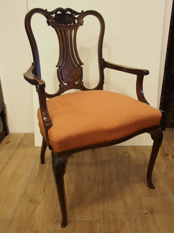 アンティーク家具 箕面 アームチェア チェア 椅子 イス 肘掛け椅子 一人がけ 透かし彫り インレイド ヴィクトリアン ヴィンテージ家具 ビンテージ家具 イギリスアンティーク家具 イギリス 英国家具 イギリス家具