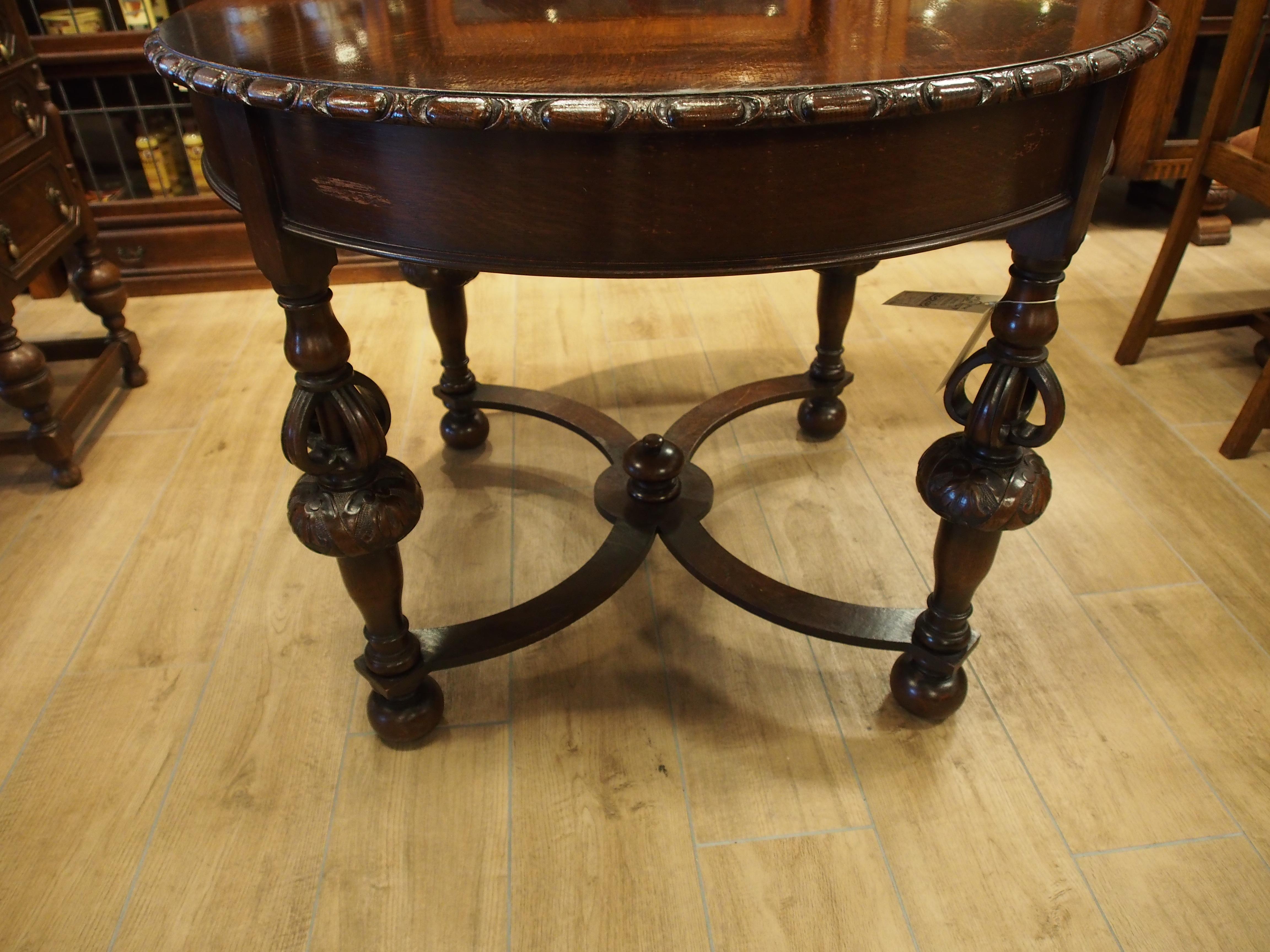 アンティーク家具 箕面 ダイニングテーブル ラウンド テーブル 四本脚 ウィリアムアンドメアリー オーク無垢 彫刻 ヴィンテージ家具 ビンテージ家具 イギリスアンティーク家具 イギリス 英国家具 イギリス家具