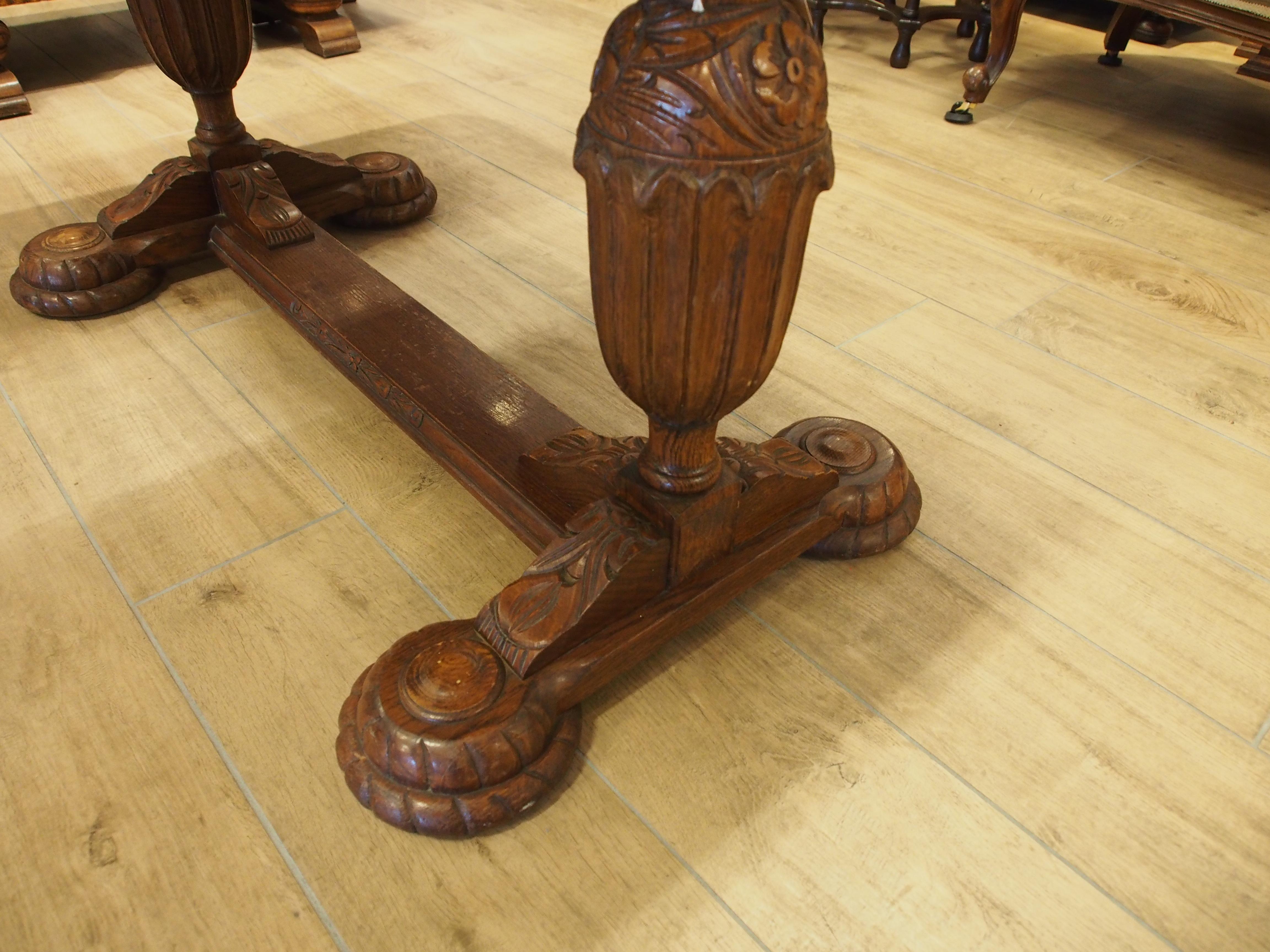 アンティーク家具 箕面 ダイニングテーブル テーブル 伸縮式 二本脚 ドローリーフテーブル カップアンドカバー 彫刻 ヴィンテージ家具 ビンテージ家具 イギリスアンティーク家具  イギリス 英国家具 イギリス家具