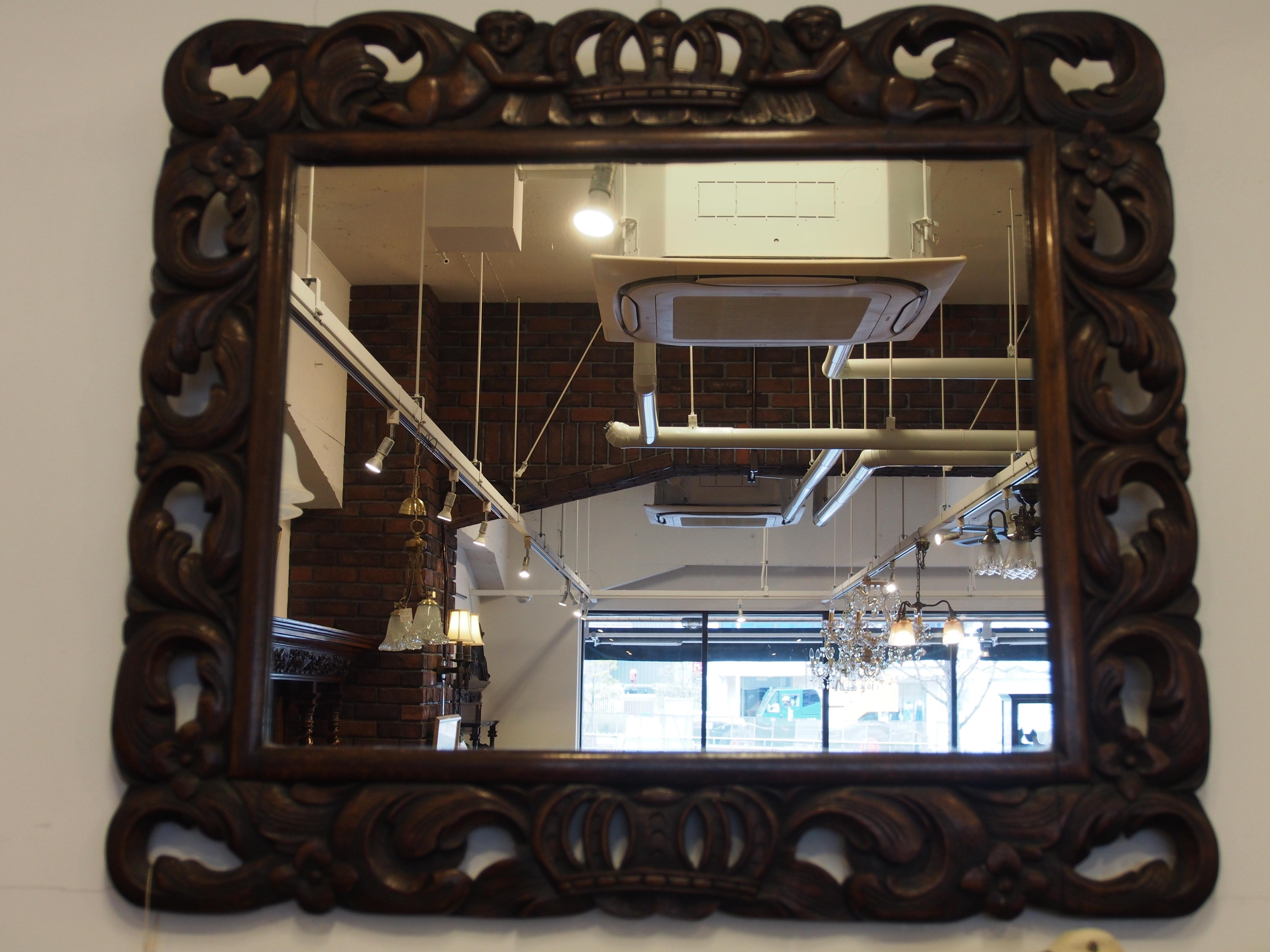 アンティーク家具 ミラー オークミラー 壁かけミラー 鏡 アンティーク