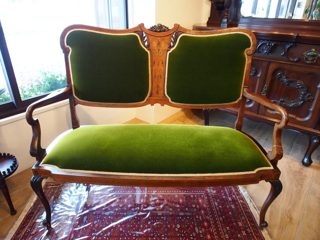アンティーク家具 マホガニー ソファ sofa セティ settee 透かし彫り マホガニー マーケットリー インレイド ヴィクトリアン ヴィンテージ家具 ビンテージ家具 イギリスアンティーク イギリス 英国家具 イギリス家具