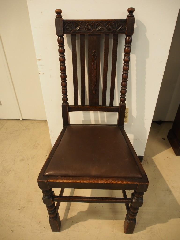 アンティーク家具 大阪 チェア ダイニンングチェア 椅子 イス ボビンリング 糸巻き装飾 ボビンレッグ 彫刻 カービング ヴィンテージ家具 ビンテージ家具 イギリスアンティーク イギリス 英国家具 イギリス家具