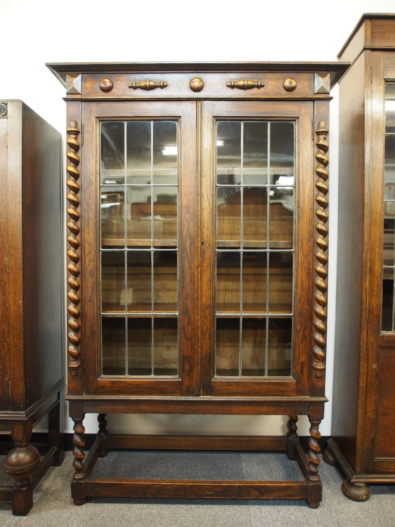 アンティーク家具 アンティーク ブックケース 本棚 食器棚 収納 ツインアンティークス