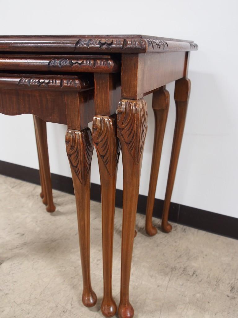 アンティーク家具 アンティーク ネストテーブル ウォルナット サイドテーブル ツインアンティークス