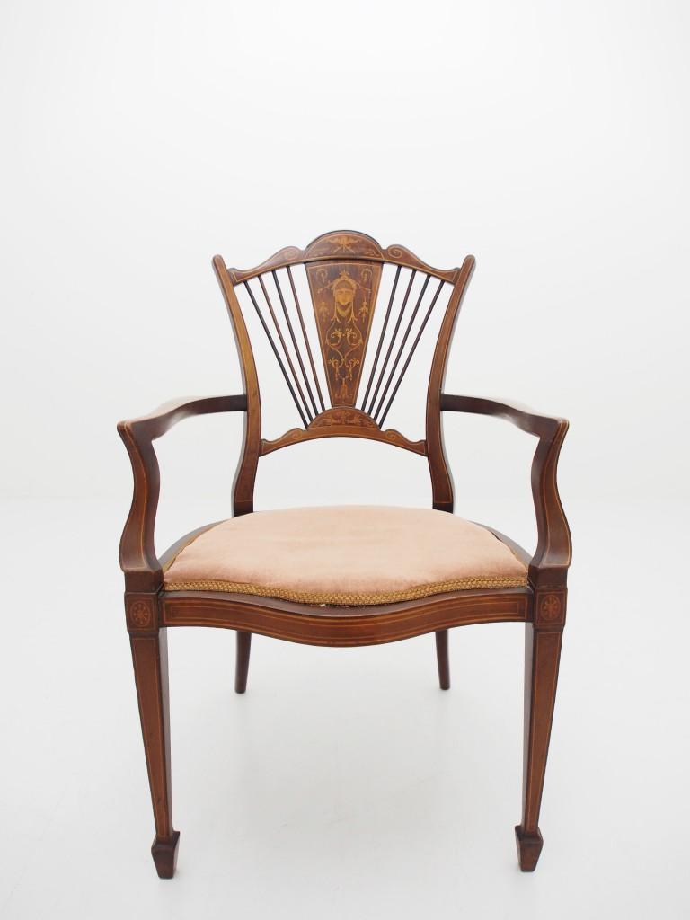 アンティーク家具 大阪 アンティーク ヴィクトリアンチェア チェア アームチェア 椅子  象嵌 インレイド マーケットリー ツインアンティークス