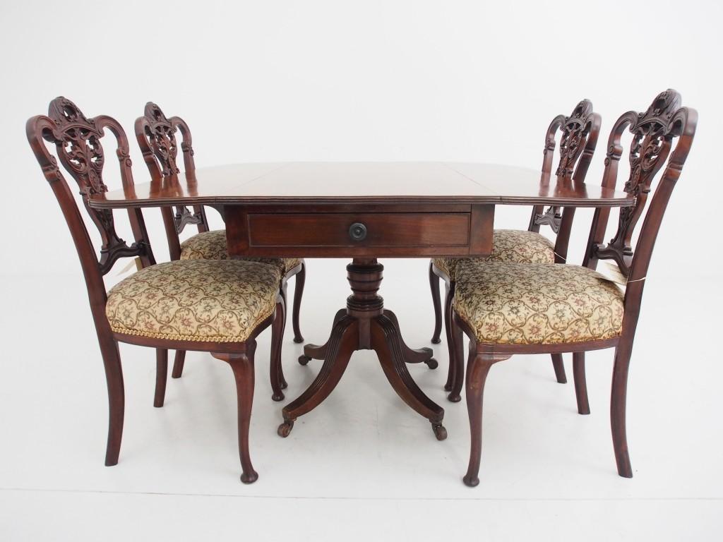 アンティーク家具 アンティーク ブレックファストテーブル ペンブロークテーブル テーブル ダイニングテーブル 拡張式テーブル マホガニー 一本脚 ツインアンティークス