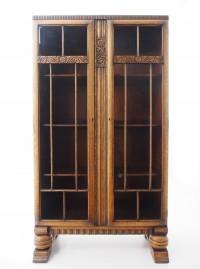 アンティーク家具 アンティーク ブックケース カーヴドオーク 本棚 収納 食器棚 ツインアンティークス