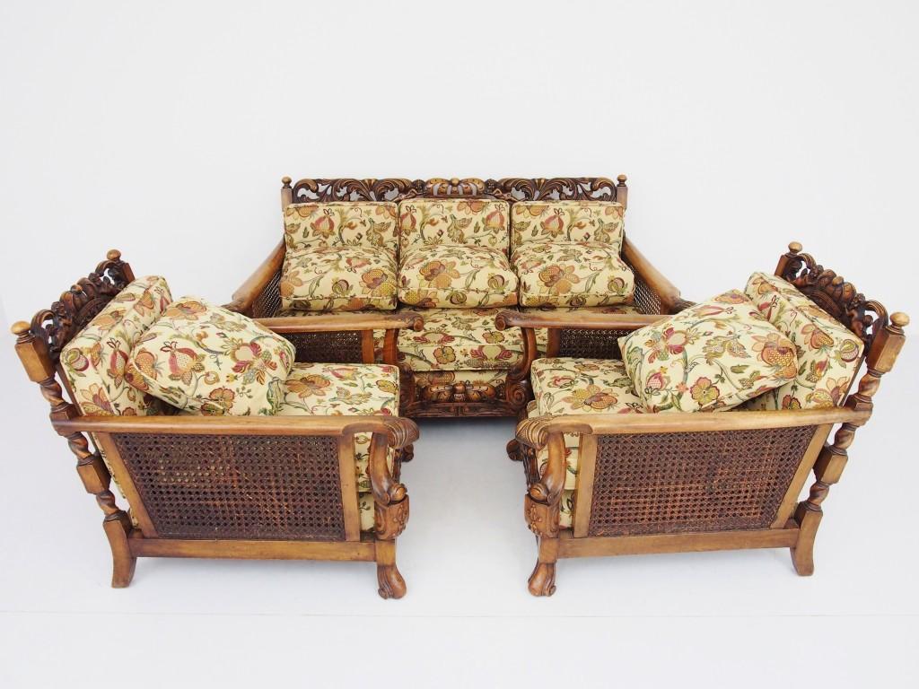 アンティーク家具 アンティーク ソファ 三人掛け 3シーター 籐編み ツインアンティークス