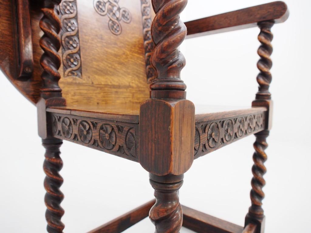アンティーク家具 アンティーク モンクスシート モンクスベンチ 椅子 サイドテーブル ティーテーブル オーク 玄関 チューダーローズ ツイストレッグ カーヴィング カービング ツインアンティークス
