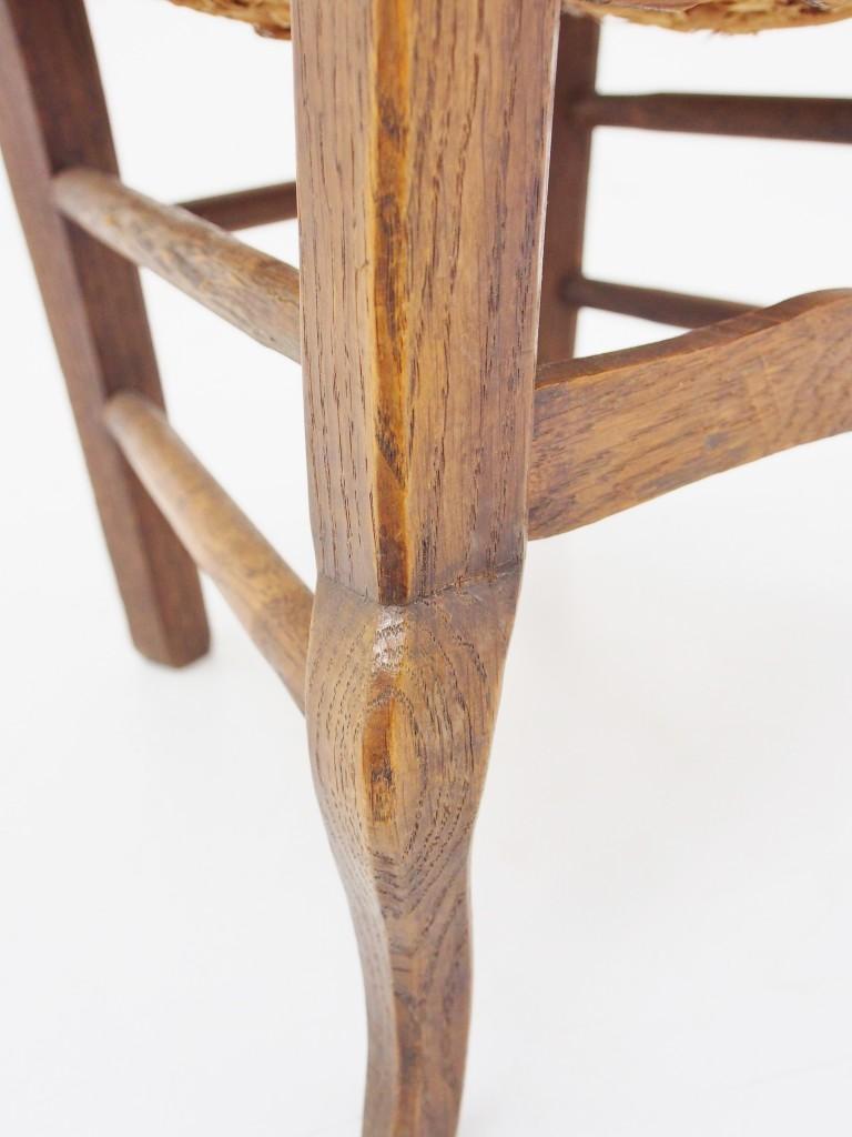アンティーク家具 アンティーク チャイルドチェア フレンチ カントリー 子供用 椅子 ラッシュシート ラフィア ラダーバック アーム付きチェア ツインアンティークス