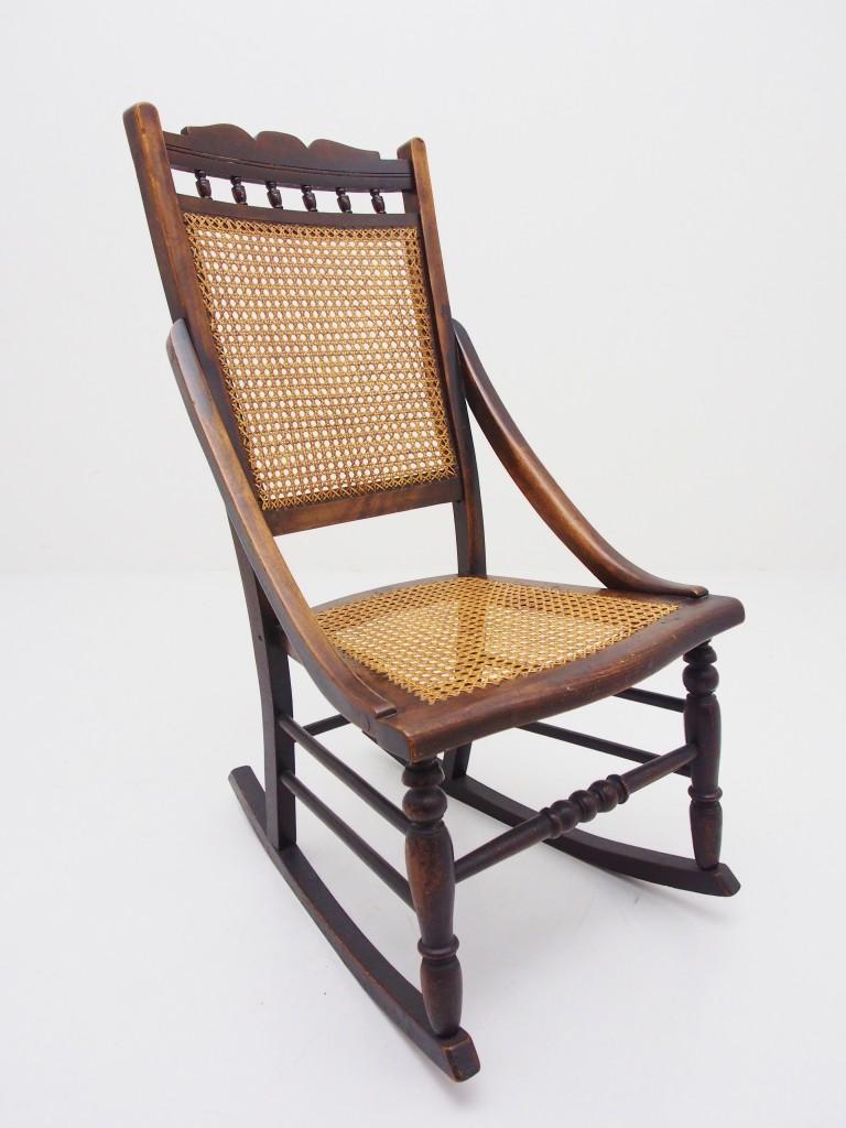 アンティーク家具 アンティーク ロッキングチェア ケインワーク 籐編み 安楽椅子 ツインアンティークス